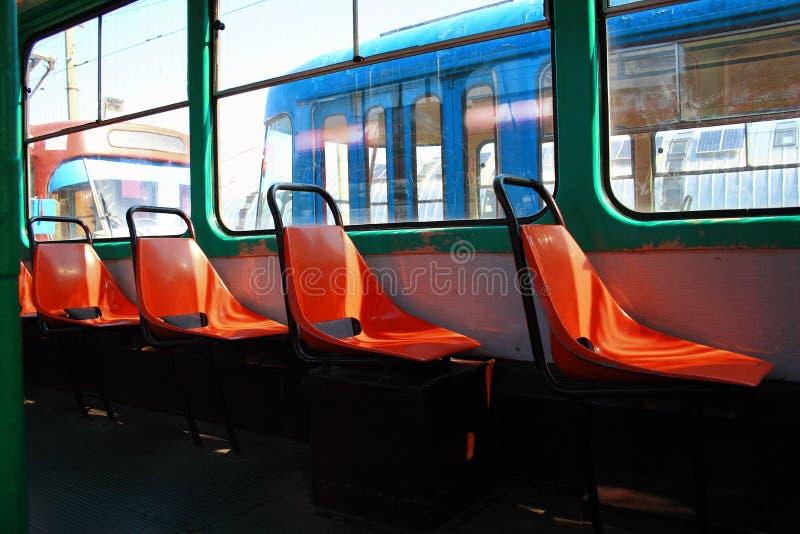 Vieux sièges de tram images libres de droits
