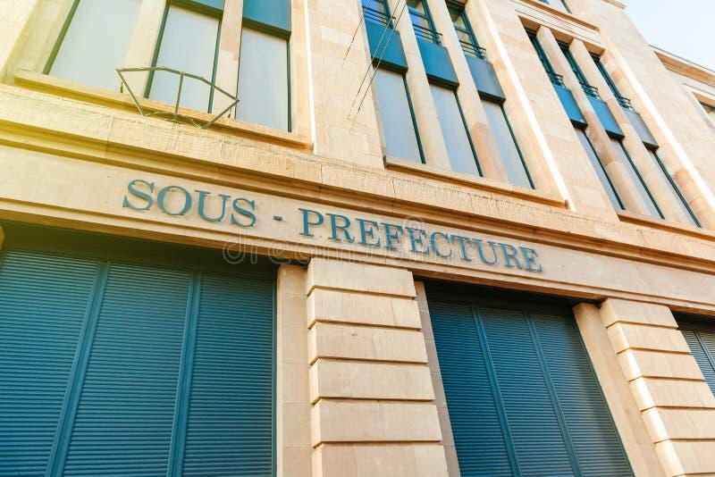 Vieux signage de Sous-préfecture sur le bâtiment à Mulhouse central, photo stock