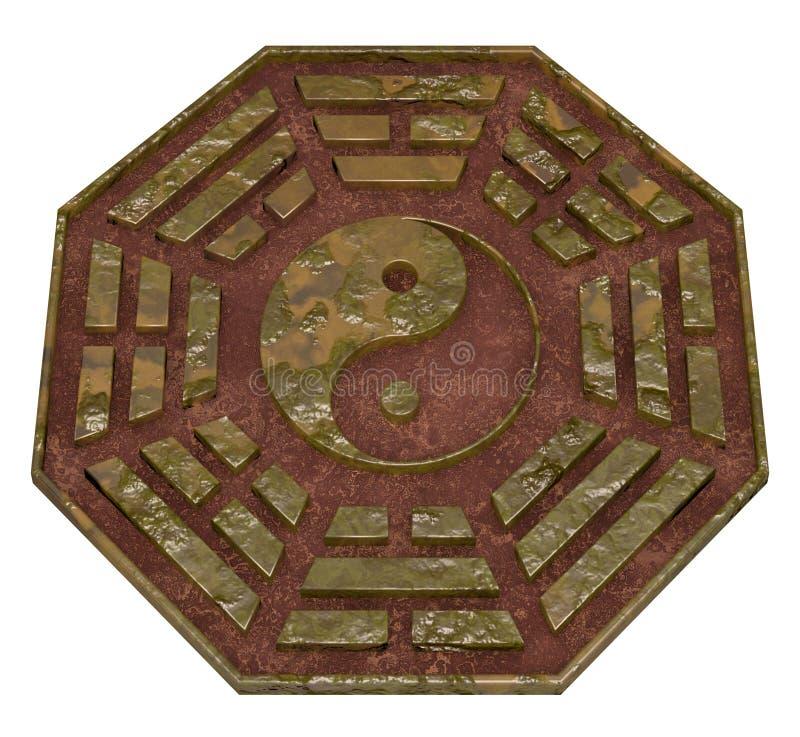 Vieux signe de Bagua Yin Yang de rouille illustration de vecteur