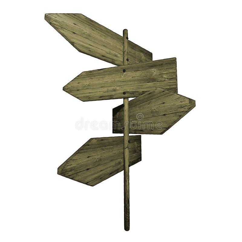 Vieux signe de route en bois illustration libre de droits