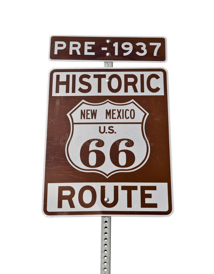 Vieux signe du Mexique de l'artère 66 d'isolement images stock