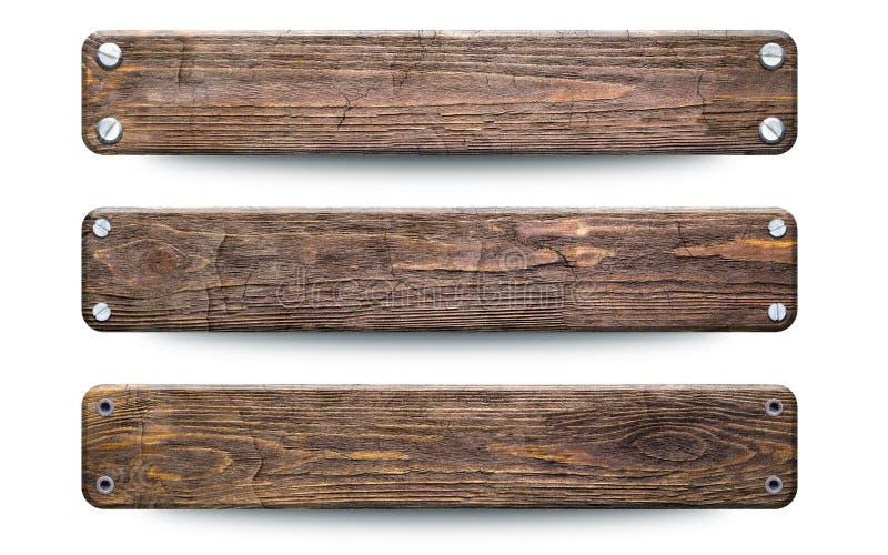 Vieux signe en bois approximatif de planches D'isolement sur le blanc avec le chemin de coupure illustration libre de droits