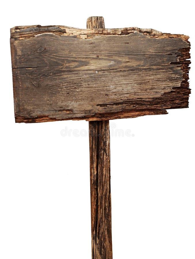 Vieux signe en bois superficiel par les agents image libre de droits