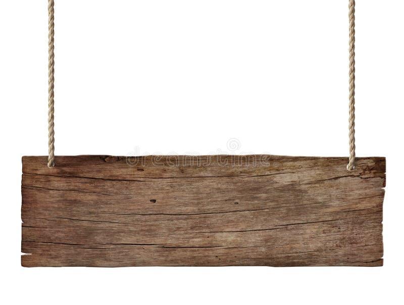 Vieux signe en bois superficiel par les agents d'isolement sur le fond blanc 2 photographie stock libre de droits