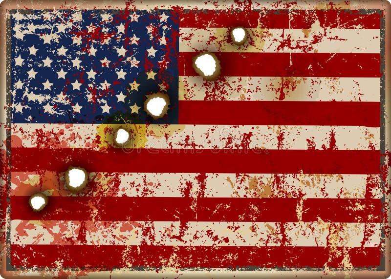 Vieux signe sale battu en métal de drapeau des Etats-Unis, vecteur patriotique de style illustration libre de droits