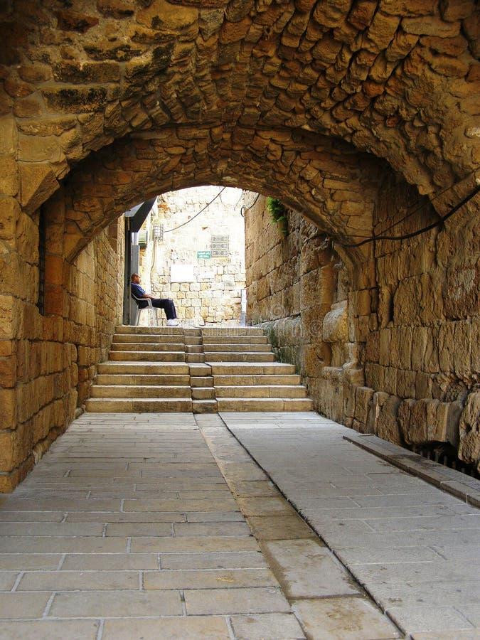 Vieux silence de ville d'Akko Israël images libres de droits