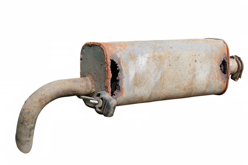 Vieux silencieux de voiture Dommages d'avant et de corrosion images libres de droits