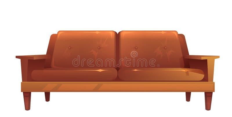 Vieux sofa brun en cuir d'isolement Type de cru illustration stock