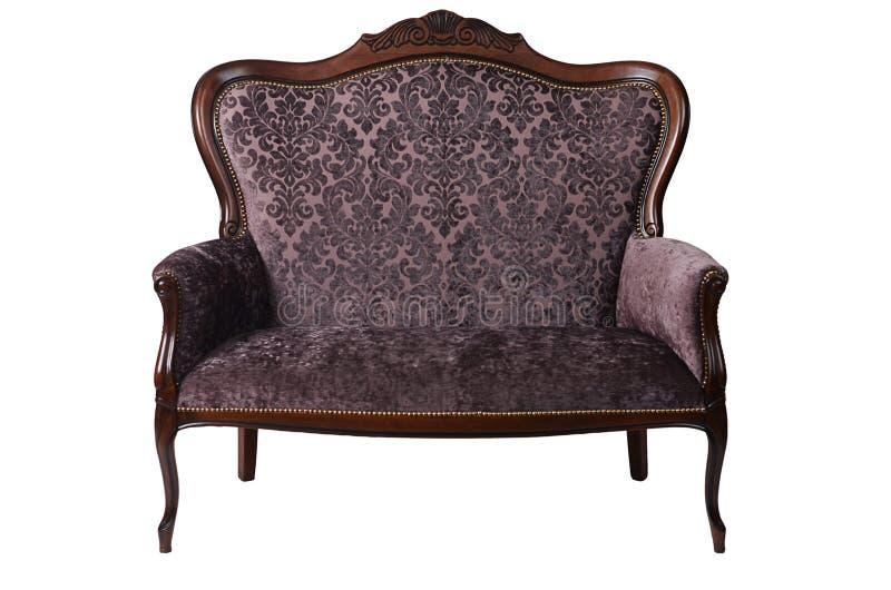 Vieux sofa d'isolement sur le fond blanc image libre de droits