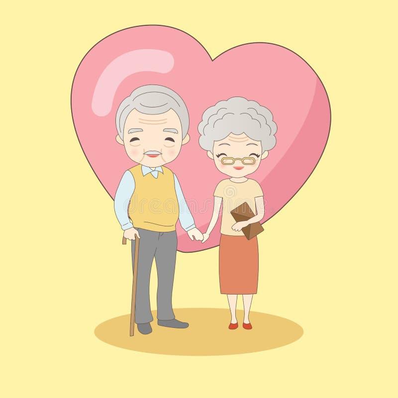 Vieux sourire de couples à vous illustration stock