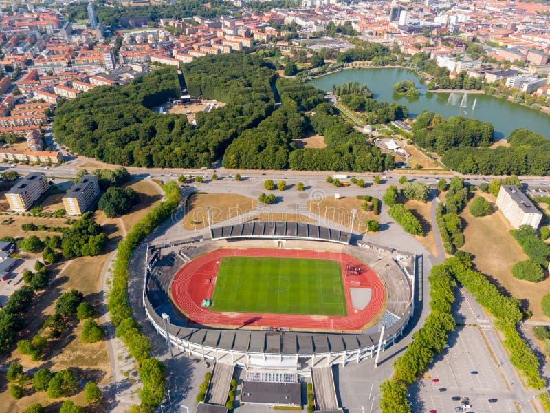 Vieux stade de football à Malmö, Suède image libre de droits