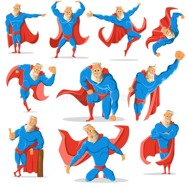 Vieux super héros charismatique de hippie dans différentes poses Superhero dans l'action Illustration illustration stock
