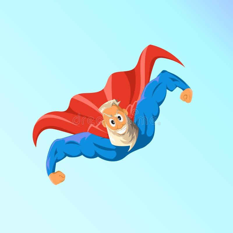 Vieux super héros charismatique de hippie Superhero dans l'action Illustration de vecteur illustration de vecteur