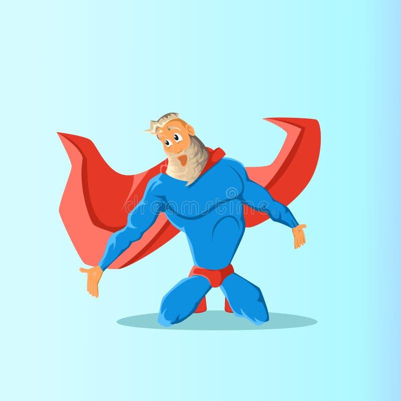 Vieux super héros charismatique de hippie Superhero dans l'action Illustration de vecteur illustration libre de droits