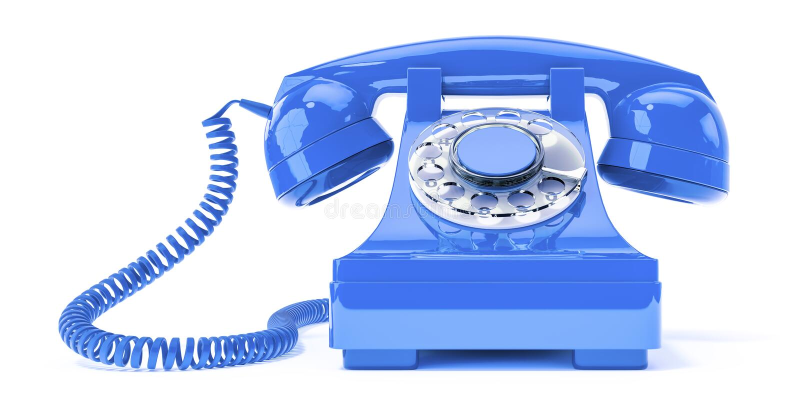 Vieux téléphone bleu illustration de vecteur