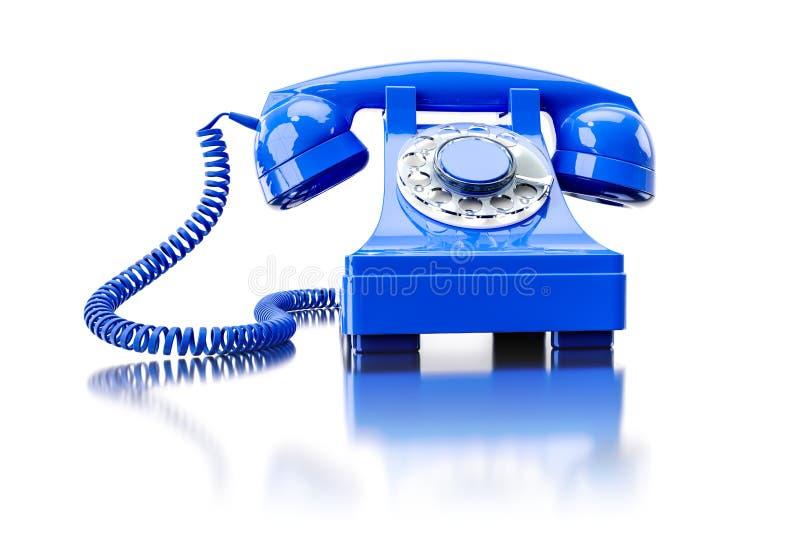 vieux téléphone commuté bleu illustration de vecteur