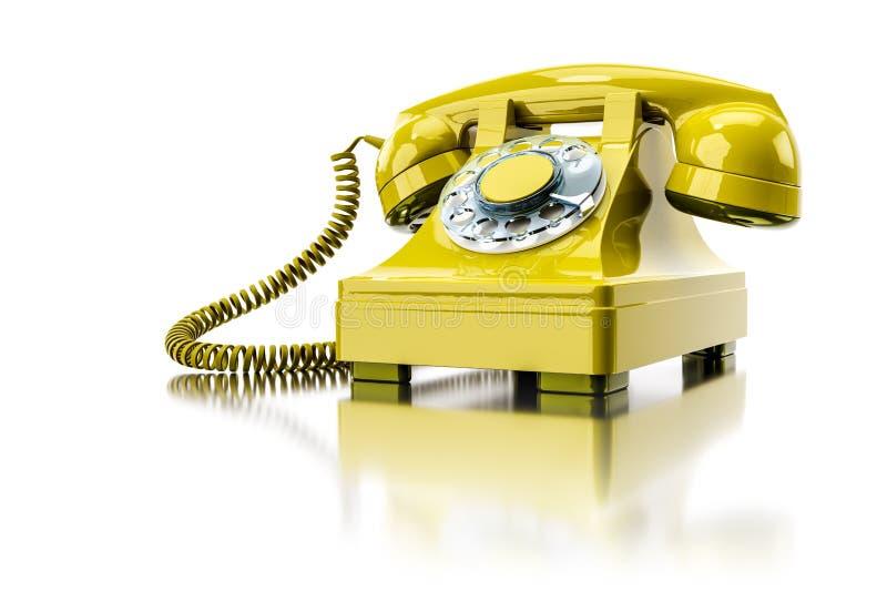 vieux téléphone commuté jaune illustration de vecteur