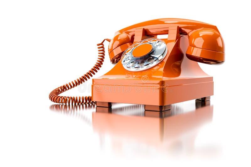 vieux téléphone commuté orange illustration de vecteur