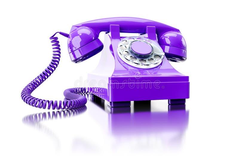 vieux téléphone commuté pourpre illustration de vecteur
