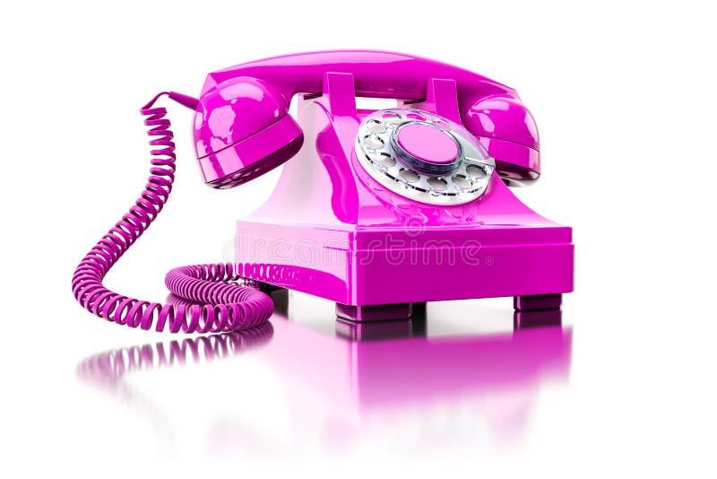 vieux téléphone commuté rose illustration de vecteur