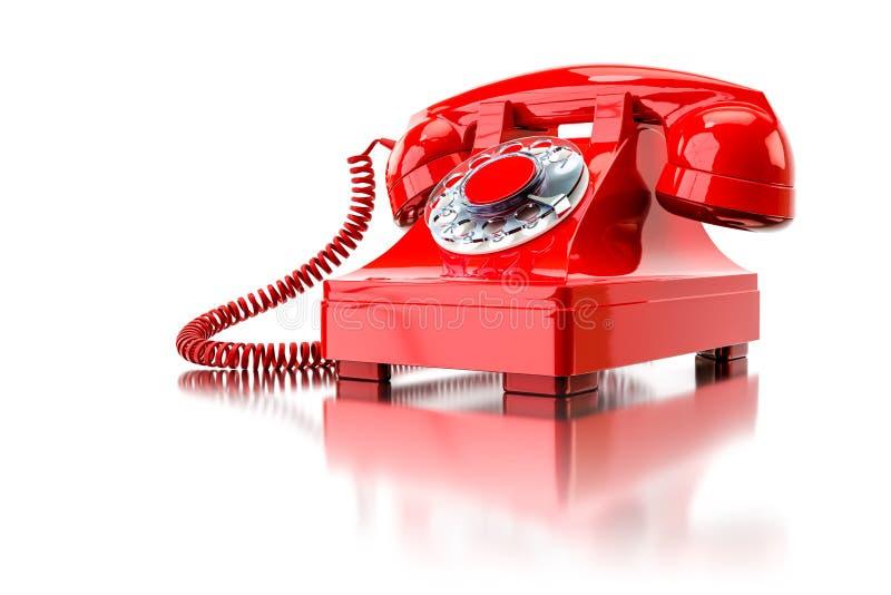 vieux téléphone commuté rouge illustration stock