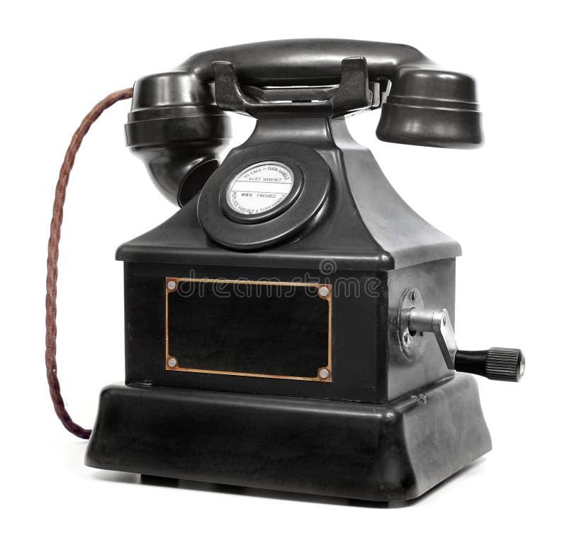 Vieux téléphone de magnéto à bakélite de cru images libres de droits