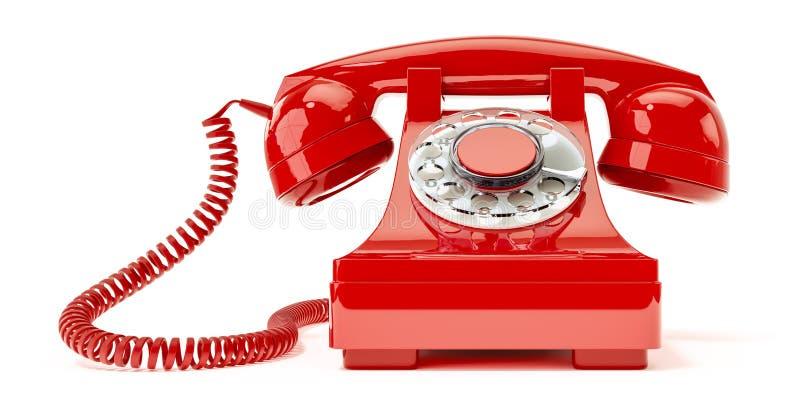 Vieux téléphone rouge illustration de vecteur