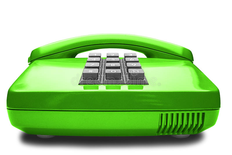 Vieux téléphone vert avec l'ombre sur le fond blanc photos libres de droits