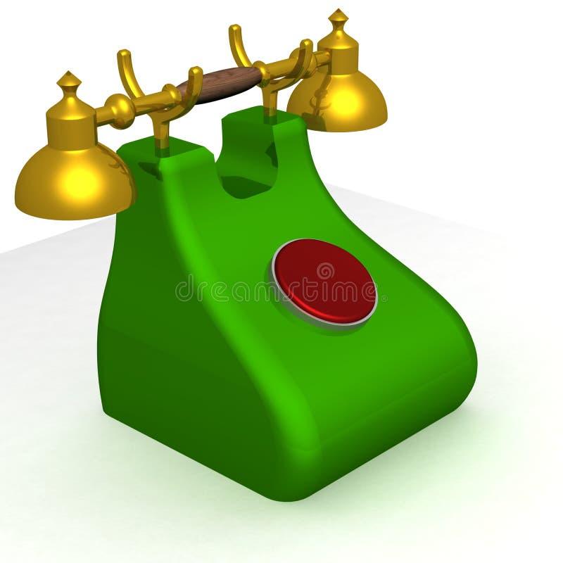 Vieux téléphone vert avec le bouton rouge. illustration de vecteur
