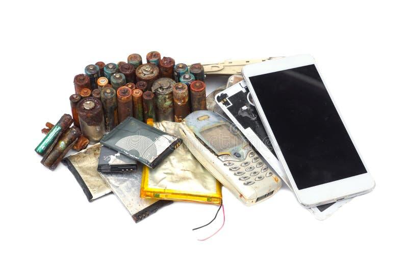 Vieux téléphones portables et batterie image libre de droits