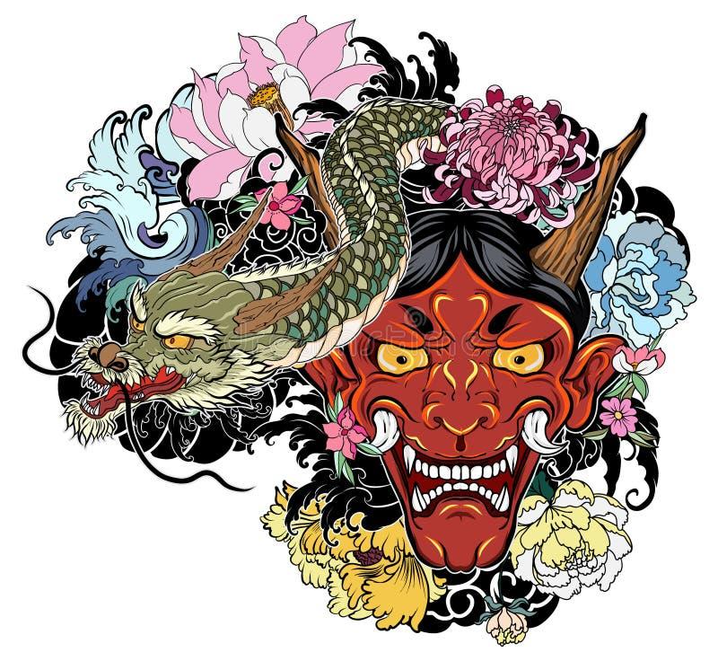 vieux tatouage japonais de dragon pour le bras le masque. Black Bedroom Furniture Sets. Home Design Ideas