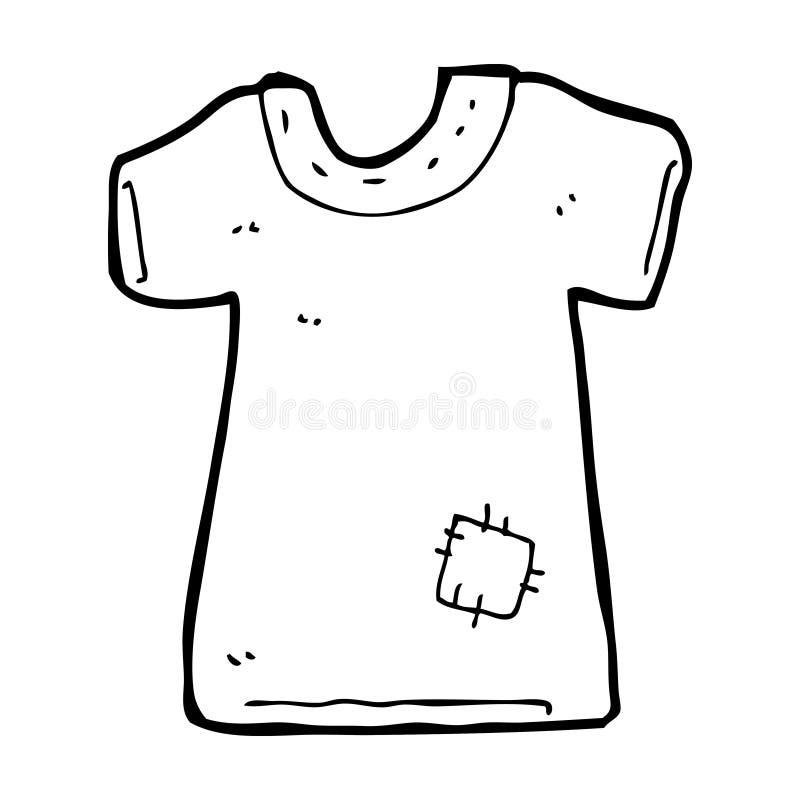 vieux tee-shirt raccordé par bande dessinée illustration stock