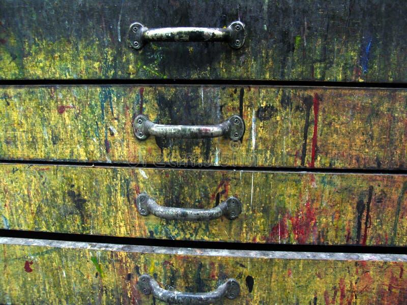 Vieux tiroirs colorés photo libre de droits