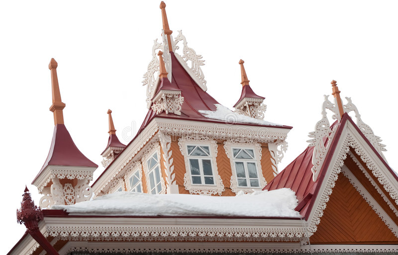 vieux toit de beau buildng en bois photographie stock libre de droits