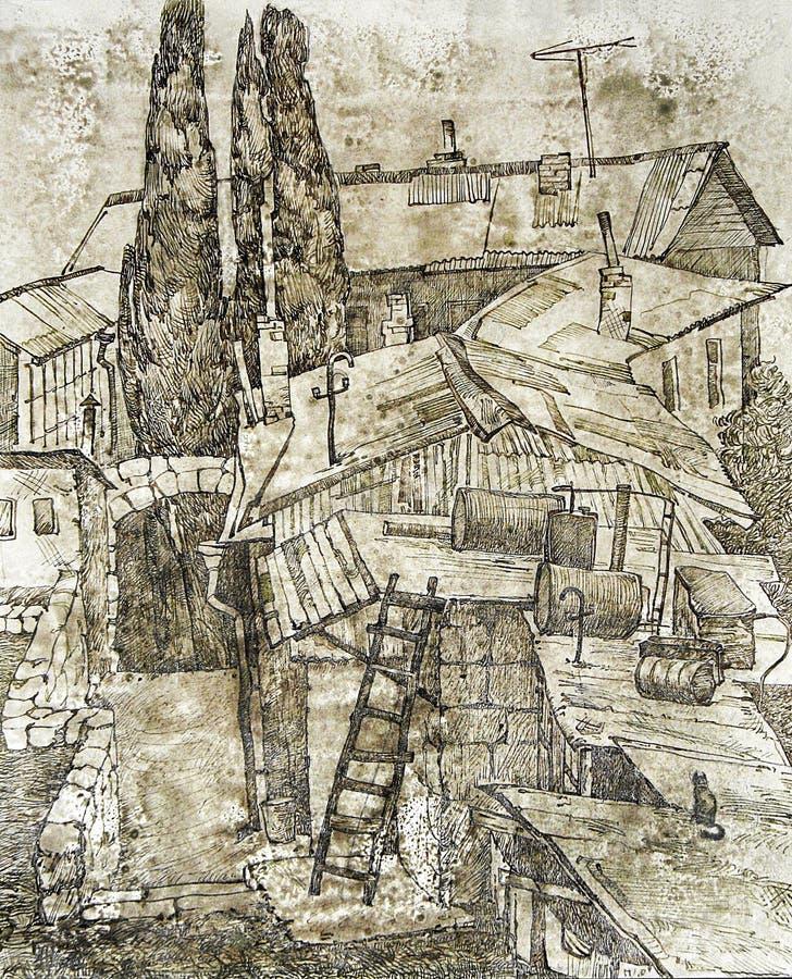 Vieux toit de cour du sud illustration de vecteur