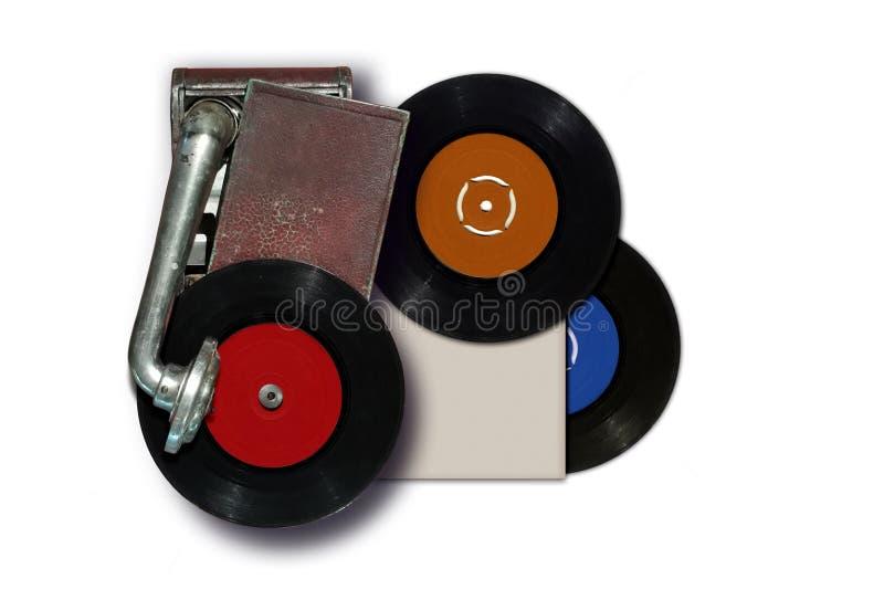 Vieux tourne-disque de vintage avec le disque de vinyle photos libres de droits