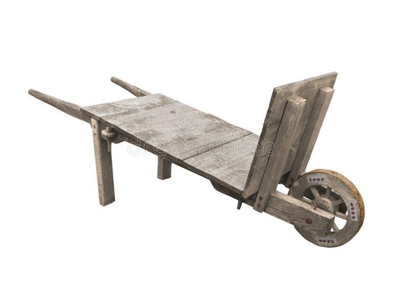 vieux toute la brouette de roue en bois d 39 isolement photo stock image du chariot rustique. Black Bedroom Furniture Sets. Home Design Ideas