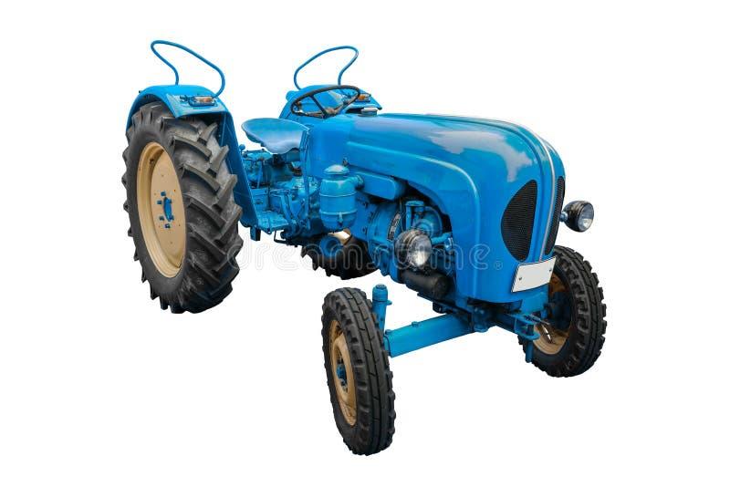 Vieux tracteur bleu image libre de droits