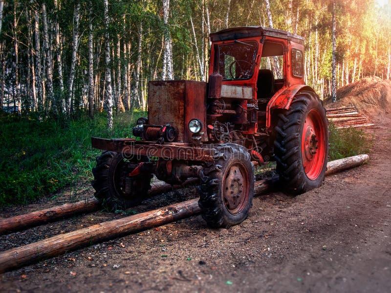 Vieux tracteur de roue dans les bois photographie stock
