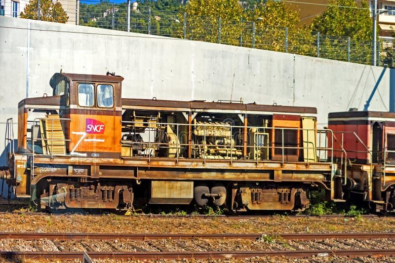 Vieux train abandonné français photos stock