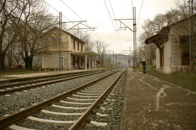 vieux train de gare photographie stock