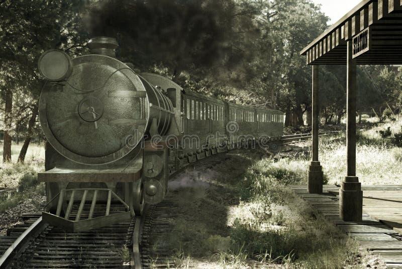 Vieux train obtenant à la gare illustration libre de droits