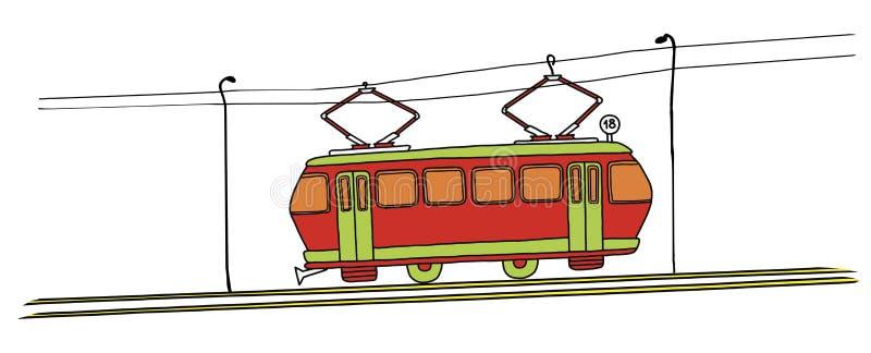 Vieux tram rouge numéro 18 sur un fond blanc illustration libre de droits