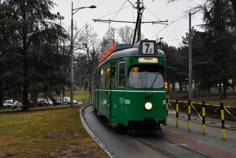 Vieux tram vert image libre de droits