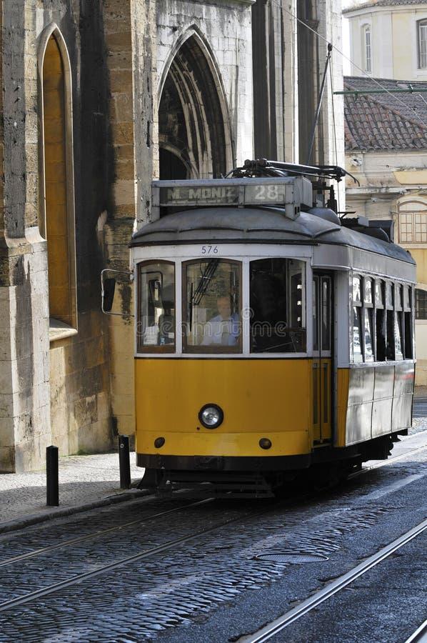 Vieux tramway à Lisbonne photos libres de droits
