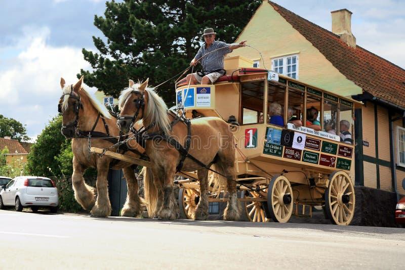 Vieux tramway de cheval dans Svaneke, Bornholm images stock