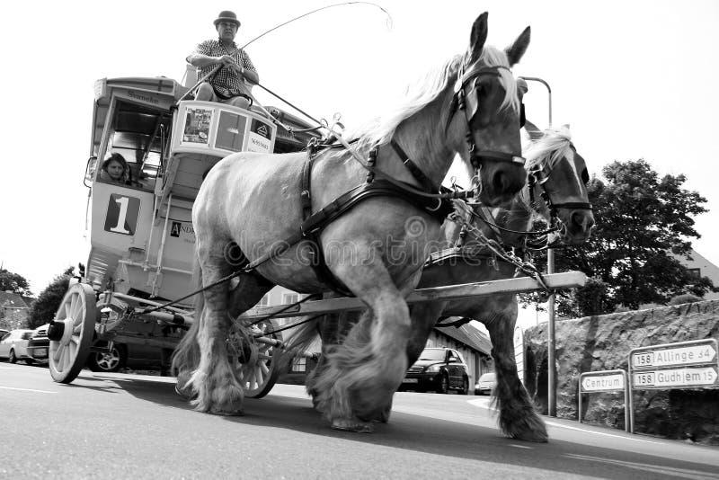 Vieux tramway de cheval dans Svaneke, Bornholm photos libres de droits