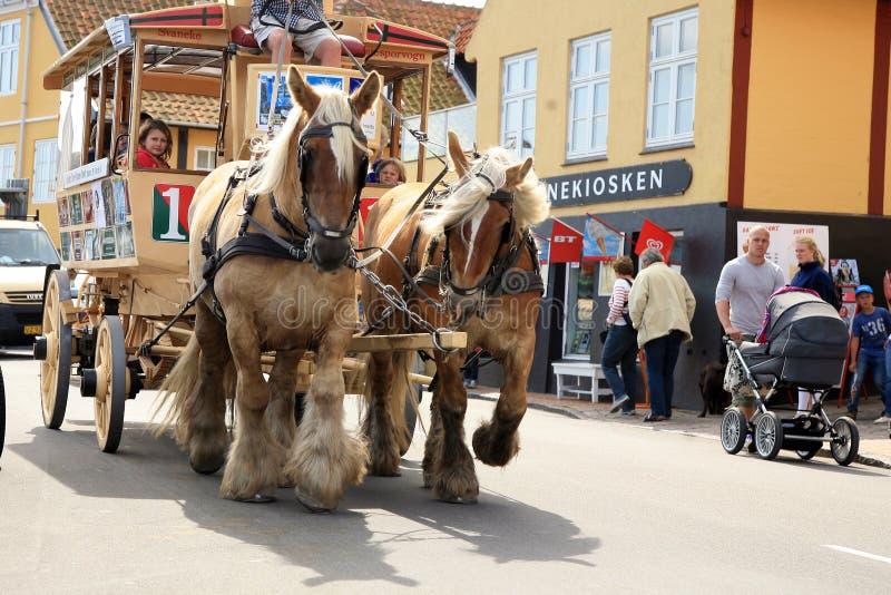 Vieux tramway de cheval dans Svaneke, Bornholm photo stock