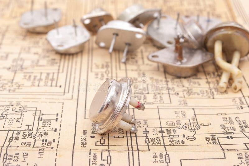 Vieux transistors images stock