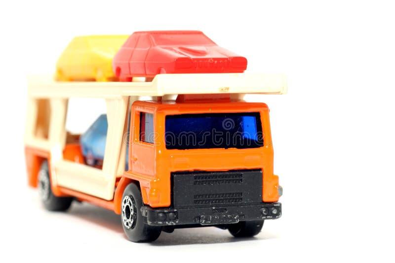 Vieux transporteur de voiture de voiture de jouet photo libre de droits